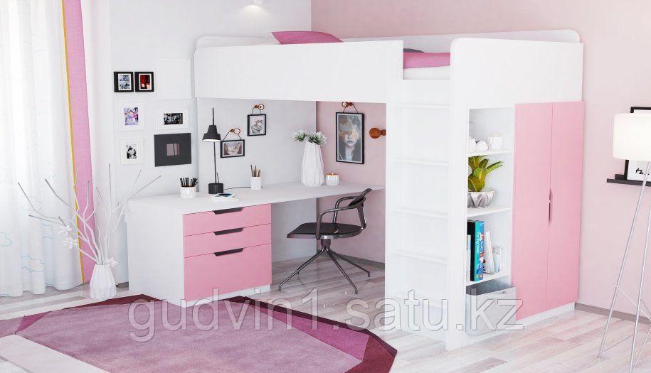 Кровать - чердак Polini Simple с письменным столом и шкафом, цвет белый роза 00-72570