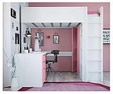 Кровать - чердак Polini Simple с письменным столом и шкафом, цвет белый роза 00-72570, фото 4