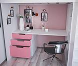 Кровать - чердак Polini Simple с письменным столом и шкафом, цвет белый роза 00-72570, фото 6