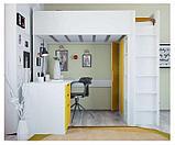 Кровать - чердак Polini Simple с письменным столом и шкафом, цвет белый солнечный 00-72573, фото 4