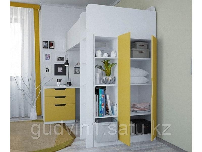 Кровать - чердак Polini Simple с письменным столом и шкафом, цвет белый солнечный 00-72573
