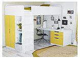 Кровать - чердак Polini Simple с письменным столом и шкафом, цвет белый солнечный 00-72573, фото 2