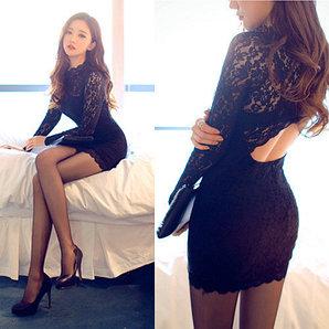 Чёрное ажурное платье, размер 42-44 (S-M)