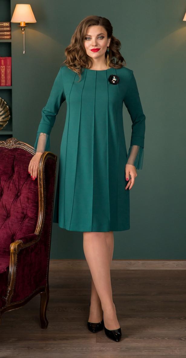 Платье Галеан Cтиль-671/1, зеленый, 52