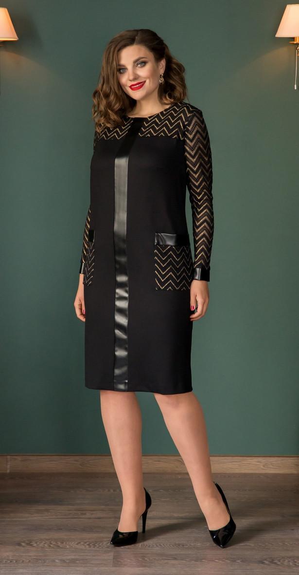 Платье Галеан Cтиль-674, черный с бежевым, 56