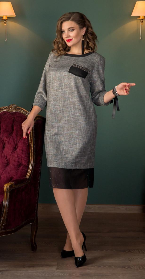 Платье Галеан Cтиль-723, серый, 50