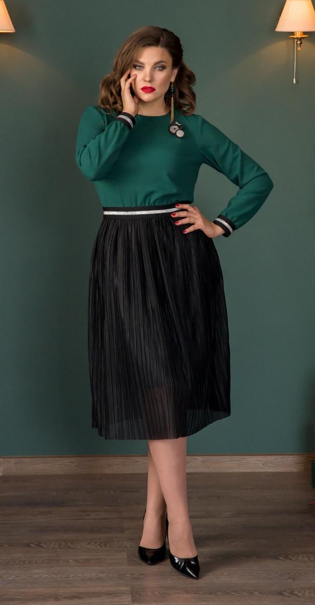 Платье Галеан Cтиль-724, зеленый с черным, 48