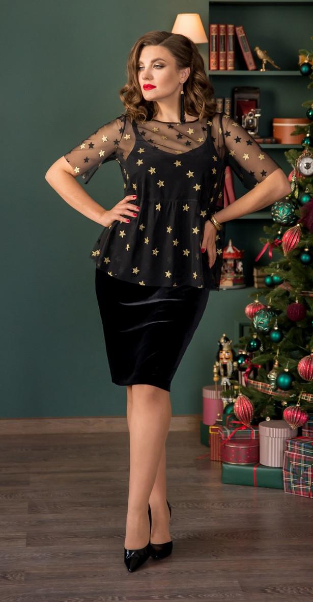 Платье Галеан Cтиль-730, черный, 46