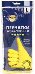Перчатки хозяйственные желтые Aviora размер L 120 пар/кор