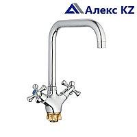 Смеситель ZEGOR DML4-C827 двуручный для кухни с поворотным изливом, на гайке