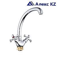 Смеситель ZEGOR DTZ4-B827  двуручный для кухни гибкий,гайка (корона)