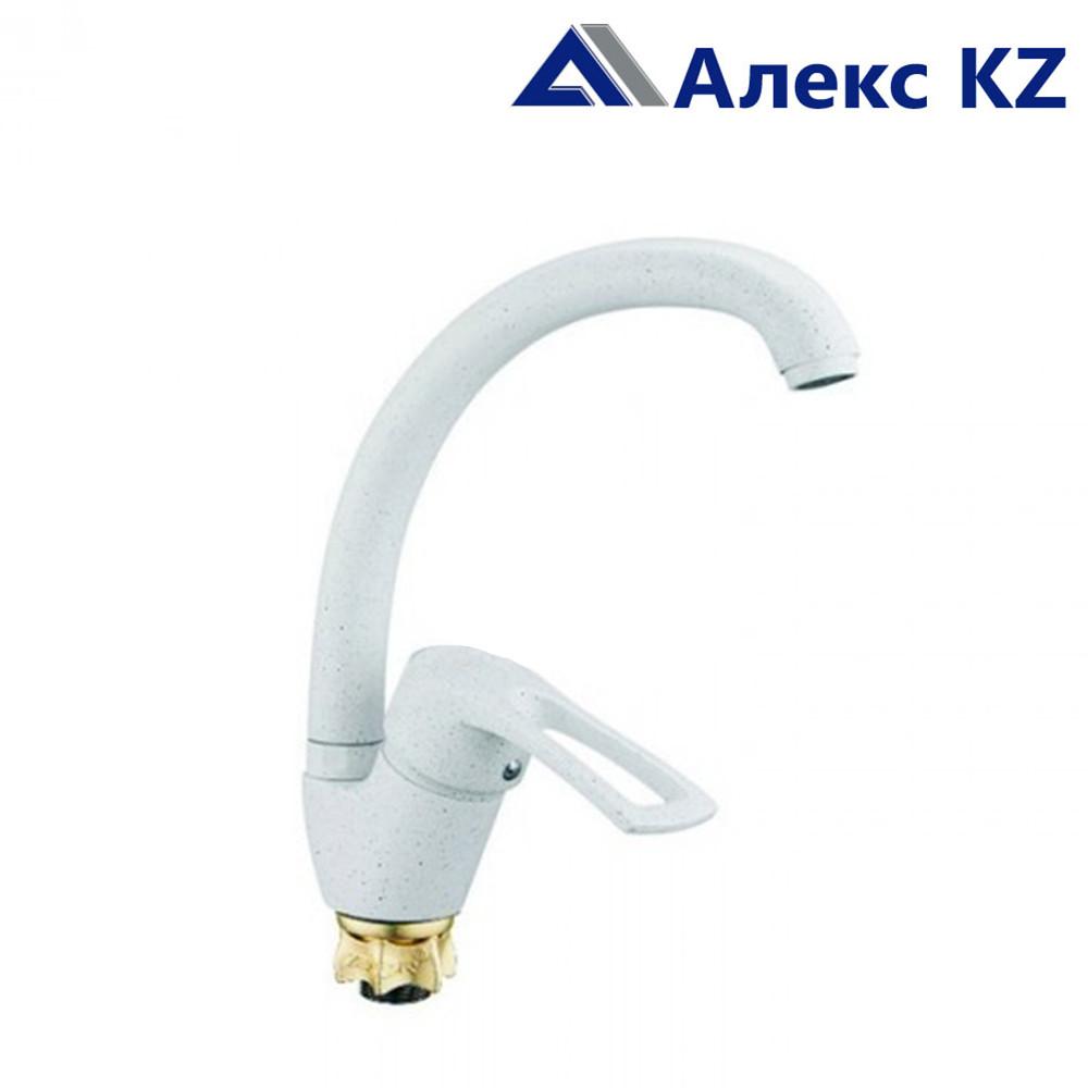 Смеситель ZEGOR YUB4-A181-KW одноручный для кухни с высоким пов. изливом,гайка белый