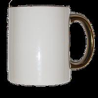 Кружка керамическая белая  ручка золотая