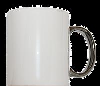 Кружка керамическая белая ручка серебро