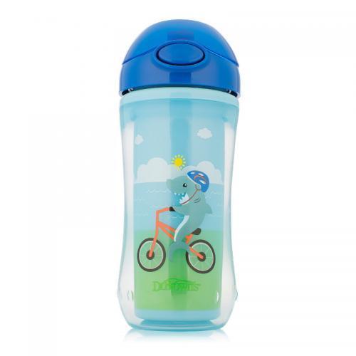 Чашка-термос Dr.Brown's 300 мл с трубочкой Акула на велосипеде