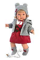 LLORENS: Кукла Карла 42 см, блондинка в серой курточке и красном сарафане 42148