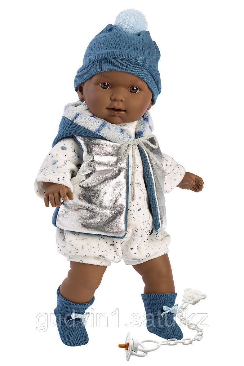 LLORENS: Кукла Зареб 42 см, афро в серебристом жилете 42641