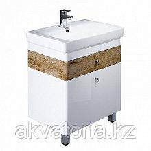 Тумба для ванной комнаты, напольная, белая/под дерево,70см,Carlow,IDDIS    CAR70W2i95