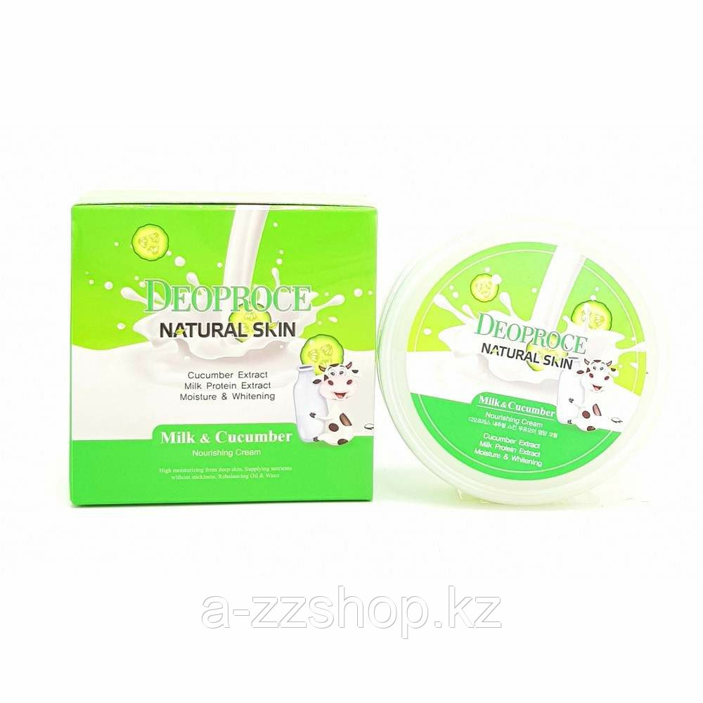 Deoproce Natural Skin Nourishing Cream Milk Cucumber - Питательный крем для лица с огурцом и молоком