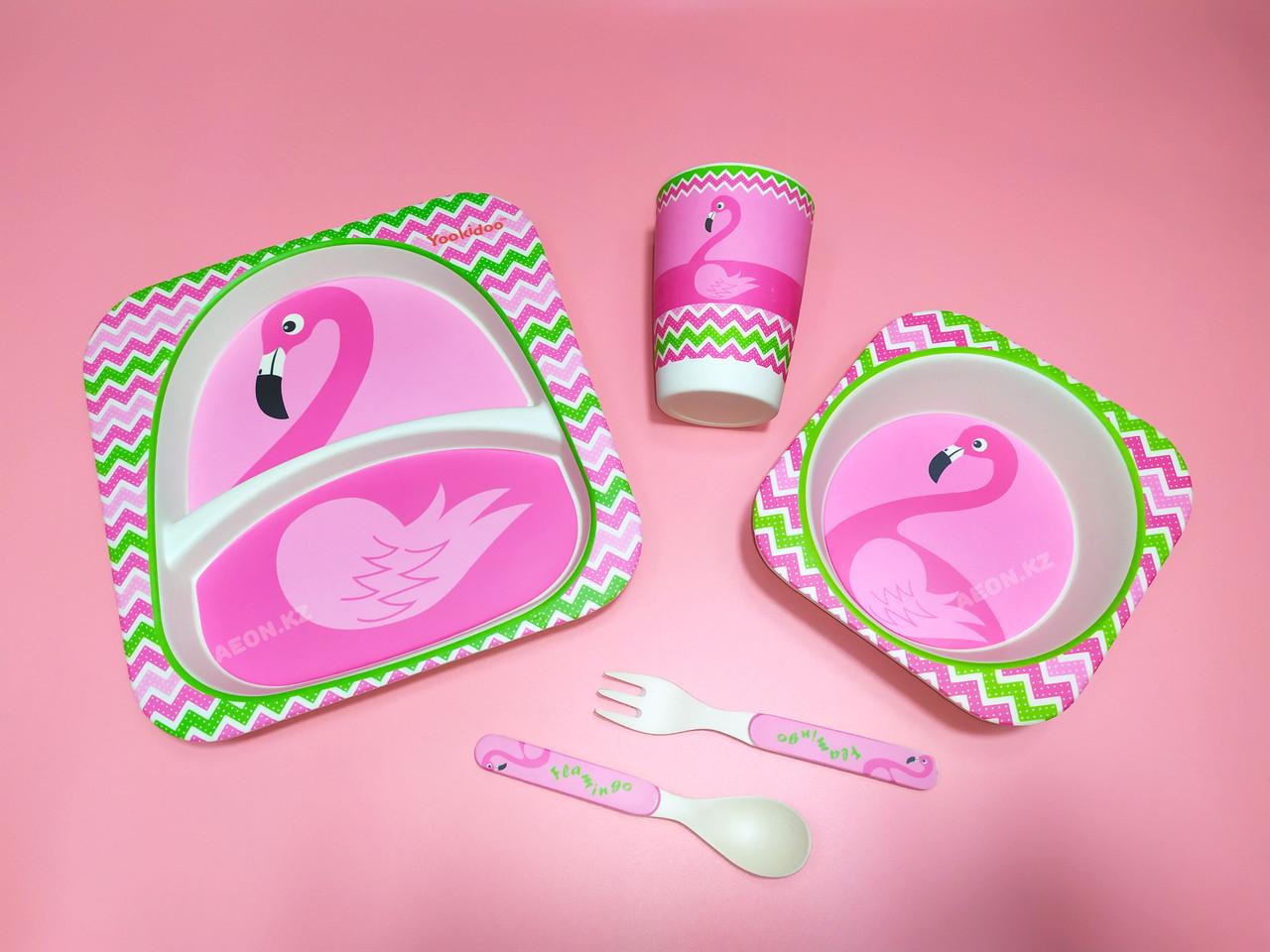 Бамбуковая посуда Розовый фламинго