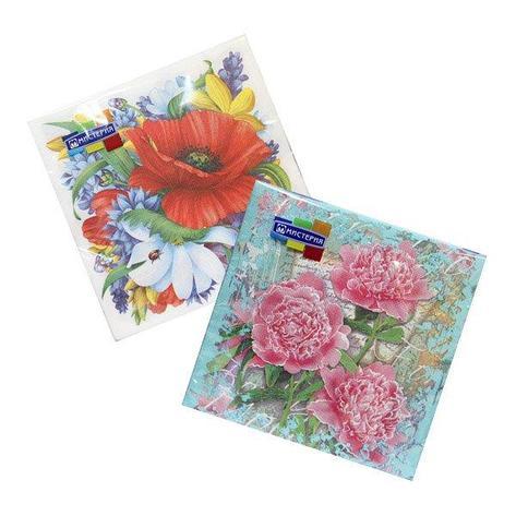 """Салфетки 33х33см, 2 сл., """"Цветочный дизайн в ассортименте"""", Бумага, 20 шт, фото 2"""
