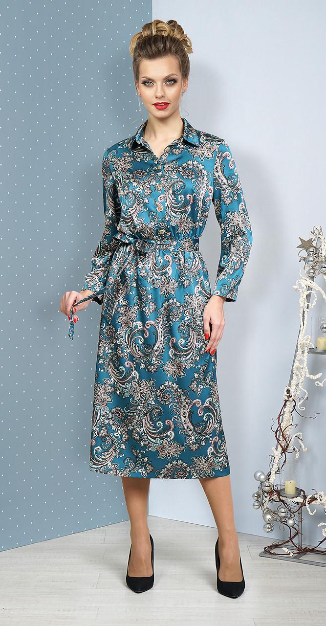 Платье Alani-1074/1, бирюзовый с серым, 46