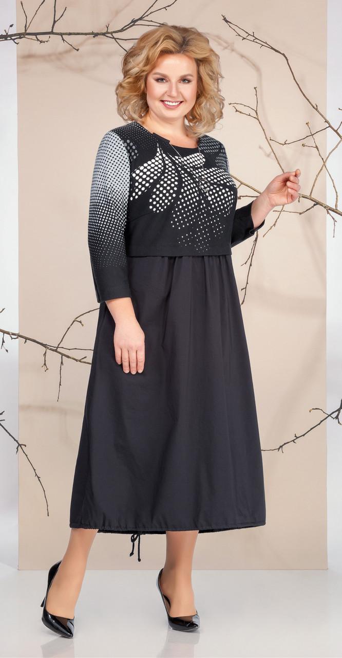 Платье Ивелта плюс-1663, черный с белым, 58