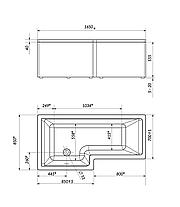 Акриловая ванна Marka One LINEA 165*85 (Левая) (Полный комплект) Ассиметричная. Угловая, фото 3