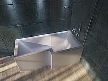 Акриловая ванна Marka One LINEA 165*85 правая (Полный комплект) Ассиметричная. Угловая, фото 3
