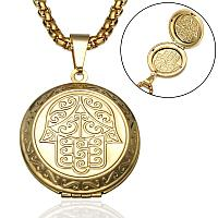 """Кулон-медальон для фото на цепочке """"Хамса"""""""