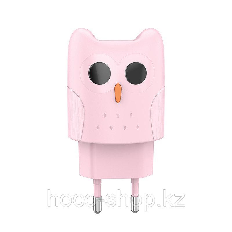 Дизайнерский сетевой адаптер Hoco KC1A Kikibelief (Сова), Pink