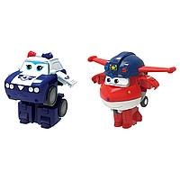 Супер крылья Джетт и Пол мини-трансформеры Super Wings 2 в 1 (команда Полиции)