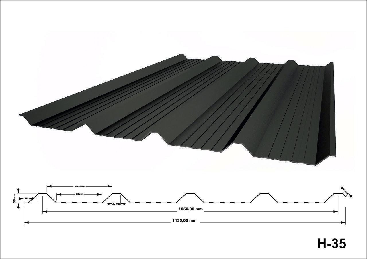 Профнастил оцинкованный с полимерным покрытием Н35 глянец RAL5005
