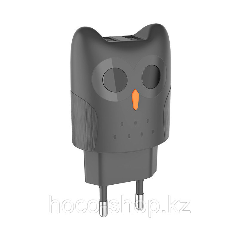 Дизайнерский сетевой адаптер Hoco KC1A Kikibelief (Сова), Gray