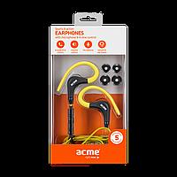 Проводные наушники ACME HE17Y Sports & action earphones with mic/желтые