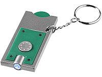 Брелок-держатель для монет Allegro с фонариком, зеленый/серебристый