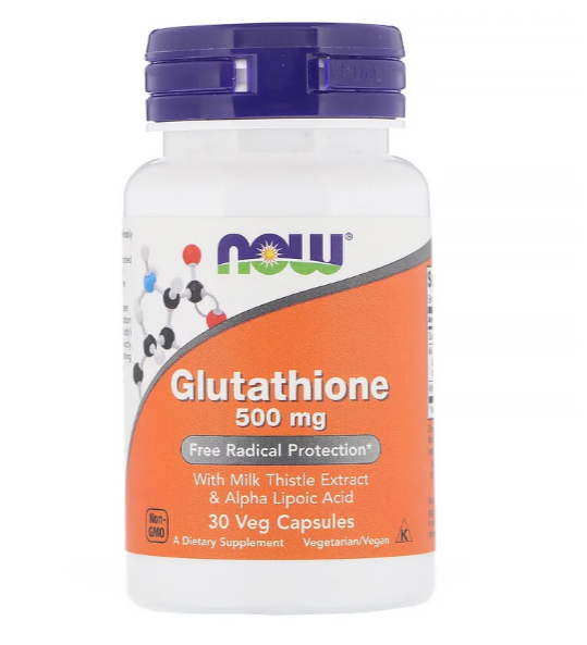 Now Foods, Глутатион, 500 мг, 30 вегетарианских капсул