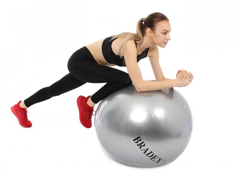 Мяч для фитнеса Fitball 75 с насосом, серебристый - фото 4