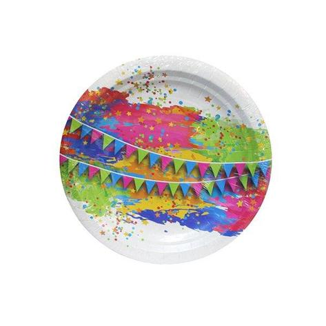 """Тарелка d 180мм, дизайн """"Краски праздника"""", картон, 6 шт, фото 2"""