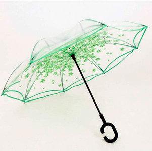 Чудо-зонт автоматический прозрачный «Перевертыш наоборот» (Зелёные цветы)