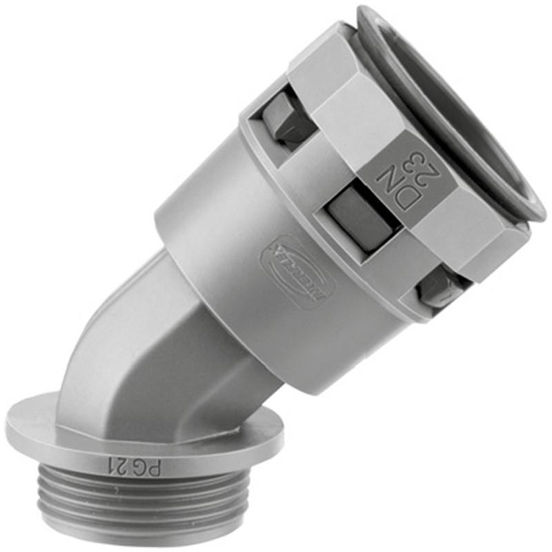 PACL23M25N DKC Монтажный комплект муфта 45 грд. труба-коробка DN 23 мм, М25х1,5, полиамид, цвет черный