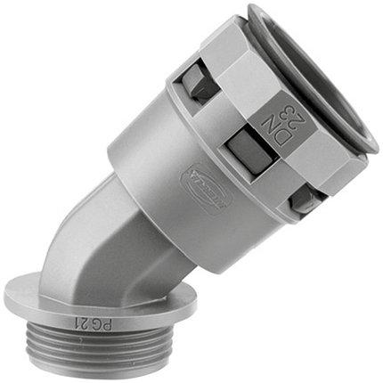 PACL23M25N DKC Монтажный комплект муфта 45 грд. труба-коробка DN 23 мм, М25х1,5, полиамид, цвет черный, фото 2