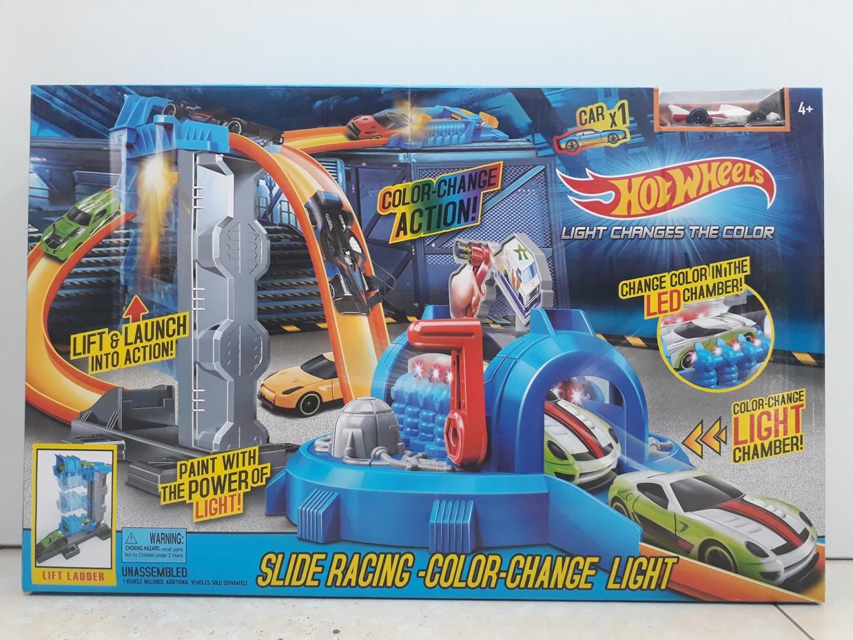 Трек Hot wheels - Slide Racing - Color Change Light. Track Builder. Хот вилс.