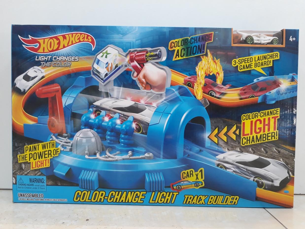 Трек Hot wheels - Color Change Light. Track Builder. Хот вилс.