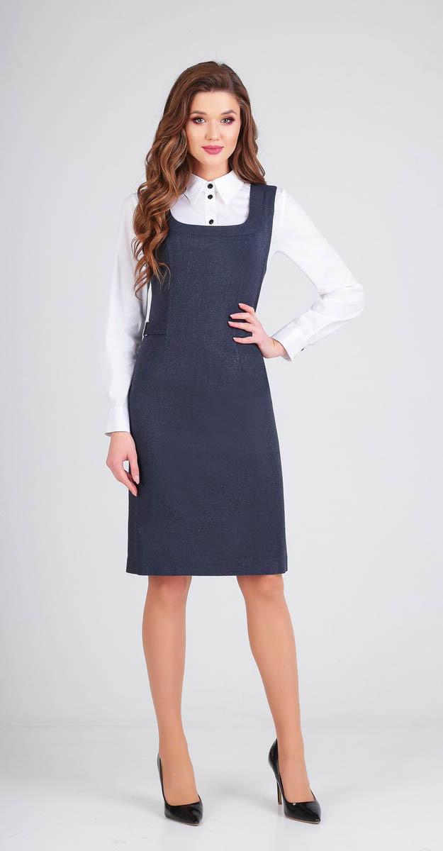 Платье Ксения стиль-1714/1, темно-синий однотон, 44