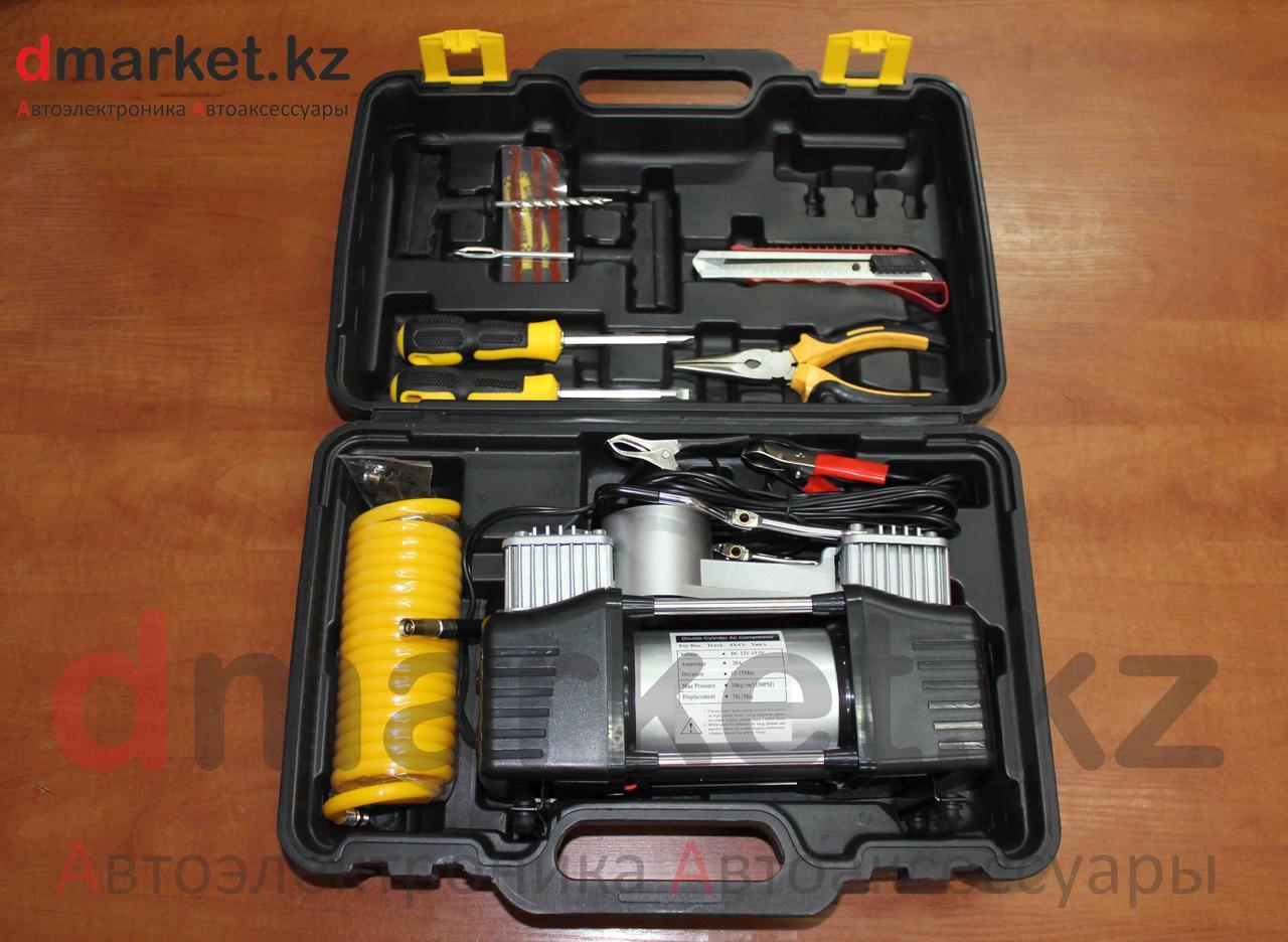 Компрессор автомобильный AC-700, 2 поршня, 10 атм., 70л/мин, инструменты, чемодан