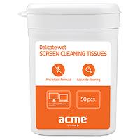 Средство для очистки офисной техники ACME CL01 Delicate screen cleaning tissues, 50 pcs, wet