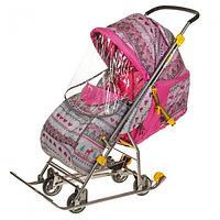 Санки-коляска Умка 3-1 вязанный узор розовый
