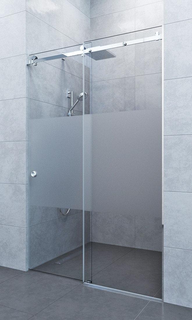 Прямая стеклянная душевая перегородка с раздвижной дверью
