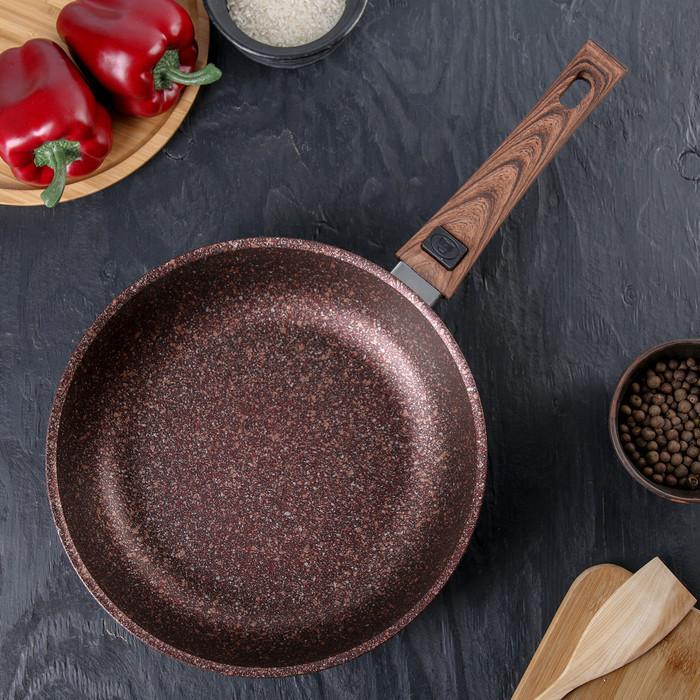 """Сковорода со съемной ручкой, линия """"Granit ultra"""" (red) АП 24 см"""